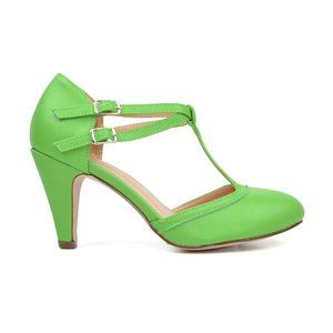 Green Women's Mary Jane T-Strap Round Toe Pump